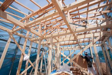 Fototapete - 木造住宅の上棟
