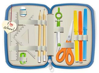 Set of school accessories in pencil box