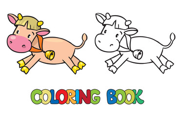 Coloring book of little funny cow or calf