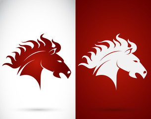 Vector image of an horse design on white background and red back