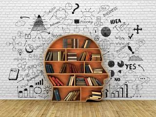 Wood Bookshelf in the Shape of Human Head and books near break w