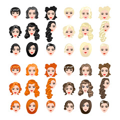 cute illustrations of beautiful young girls with various hair style