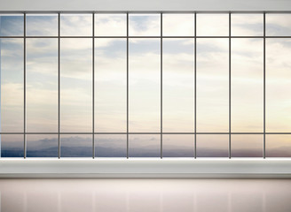 Wall Mural - 3d illustration of empty office with large windows