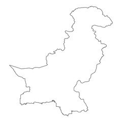 High detailed Outline of the country of  Pakistan