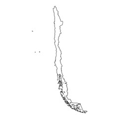 High detailed Outline of the country of  Chile