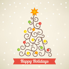 Greeting card with Christmas tree on beige background