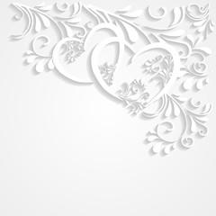 Hintergrund mit Ornamenten und 2 Herzen