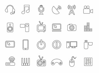 Icons, media, computer, video, music, communications, telephone, contour, monochrome.