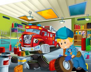 Cartoon mechanic workshop - illustration