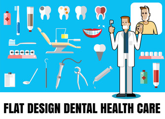 Medical flat icon illustration with dental health care vector fo