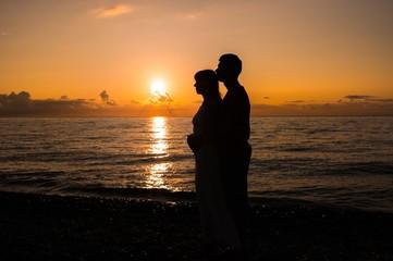 Romantic scene of love couples partners