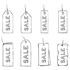 Vector Set of Sketch Discount Tags.