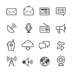 Communication Icon Bold Stroke on White Background. Vector Illustration