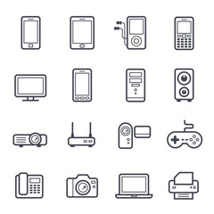 Technology and Devices Icon Bold Stroke on White Background. Vector Illustration