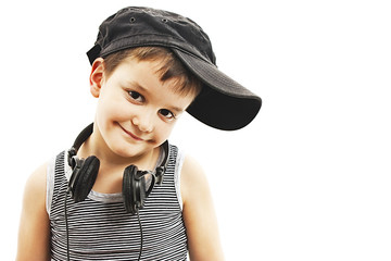 Little deejay. funny smiling boy with headphones
