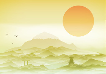 Japanese Landscape Background with Mountains  - Vector Illustration