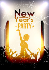 Happy New Year Party Event Background with Crowd - Vector Illustration