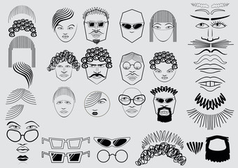 Persons. Funny faces of simple elements.