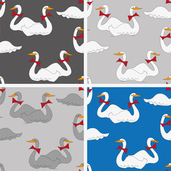 cartoon-style  background with geese