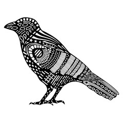 Vector illustration of Raven silhouette with  original pattern on the body.