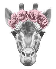 Portrait of Giraffe with floral head wreath. Hand drawn illustration.