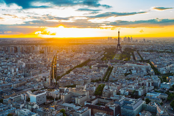 The Paris cityscape with Eiffel Tower at sunset