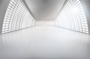 Hall, wide open space. Vector illustration.