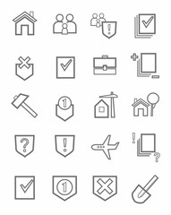 Icons, legal services, civil law, outline, single color, white background.