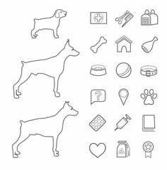 Icons, zoo, pet supplies, contour, black, dogs, age, white background.