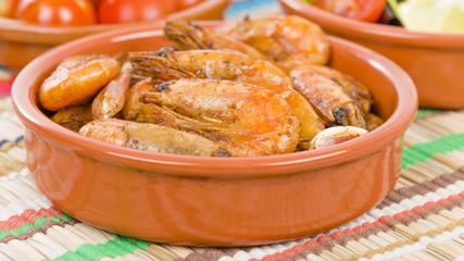 Gambas Pil Pil (Sizzling prawns). Traditional Spanish tapas dish.