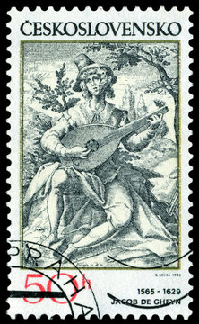 Stamp. Lute Player.