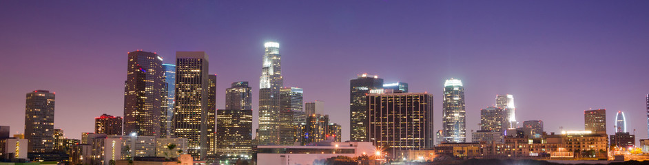 Sunrise Los Angeles California Downtown City Skyline