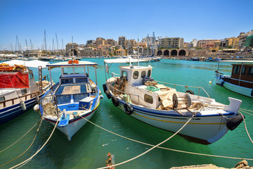 Boats in the old port of Heraklion. Crete, Greece.
