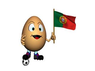 Uovo con bandiera del Portogallo