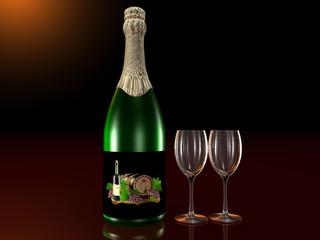Bottiglia di spumante con bicchieri