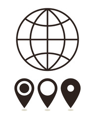 Globe and map pin icons