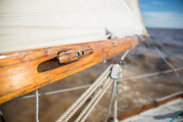 Classic wooden sailboat sprit and mast. Sailing Buenos Aires, So