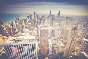Vintage Chicago Skyline Aerial View
