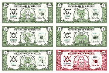 Halloween Money Banknotes Set