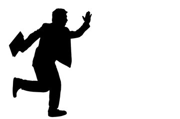 Asian business man hold briefcase and running, silhouette in stu