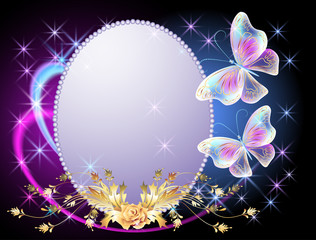 Transparent  butterflies with golden ornament, frame and  firewo