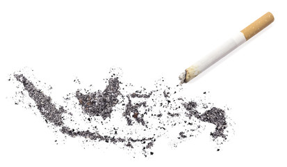 Ash shaped as Indonesia and a cigarette.(series)