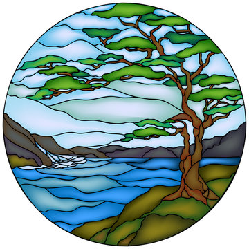 Tree, mountains and river. Vector illustration in Stained glass window