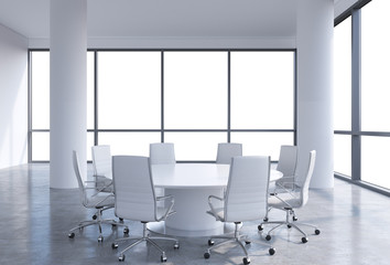 Panoramic conference room in modern office, copy space view from the windows. White chairs and a white round table. 3D rendering.