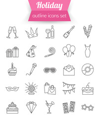 Set of outline holiday and party icons. Champagne, fireworks