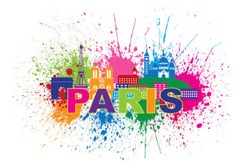Paris Skyline Paint Splatter Text Colorful Vector Illustration