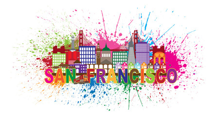 San Francisco Skyline Paint Splatter Colorful Vector Illustration