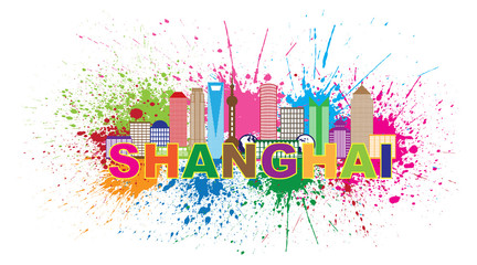 Shanghai City Skyline Paint Splatter Colorful Vector Illustration