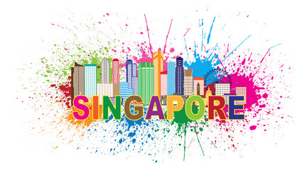 Singapore City Skyline Paint Splatter Colorful Vector Illustration
