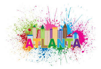 Atlanta Skyline Paint Splatter Colorful Text Colorful Vector Illustration
